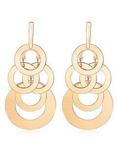 Multi-layer Round Shape Drop Earrings - Gold
