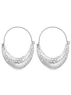 Moon Shaped Hoop Drop Earrings - Silver