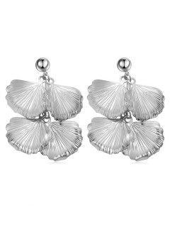 Leaves Design Alloy Drop Earrings - Silver