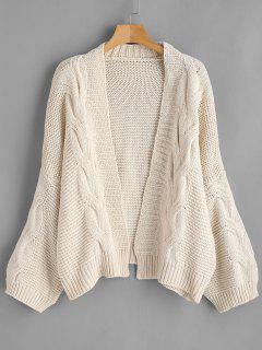 Drop Shoulder Cable Knit Cardigan - Beige