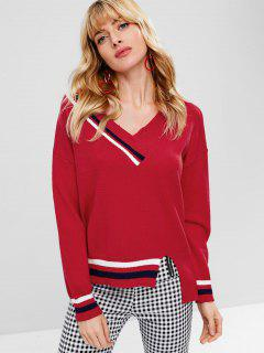 Striped Slit V Neck Sweater - Red