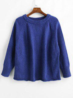 Raglan Sleeve Loose Sweater - Cobalt Blue M