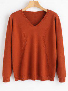 Pullover Buttoned V Neck Sweater - Chestnut Red