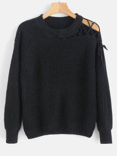 Lace Up Sweater With Drop Shoulder - Black