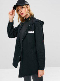 Snap Button Graphic Hooded Coat - Black S