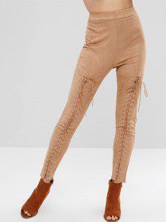 Lace Up Faux Suede Pants - Tan M