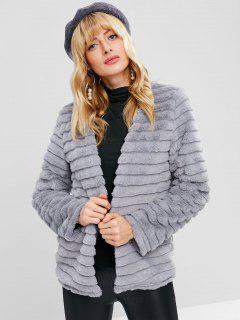 Striped Faux Fur Short Winter Coat - Light Gray L