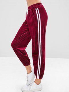 Stripes Corduroy Jogger Pants - Maroon L