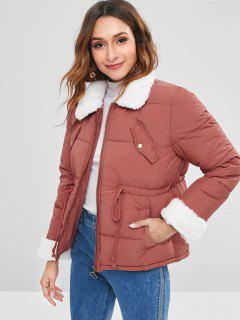 Faux Fur Pocket Quilted Coat - Pale Violet Red M