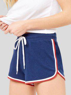 Drawstring Striped Side Sports Shorts - Blue L