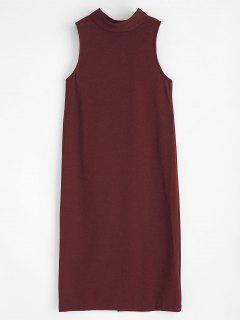 Vestido De Cuello Redondo Con Botones - Vino Tinto L