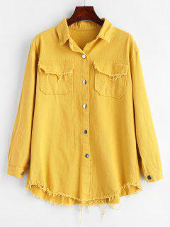 Frayed Snap Button Shirt Jacket - Bright Yellow