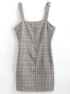 Plaid Button Down Pinafore Dress - Gray M