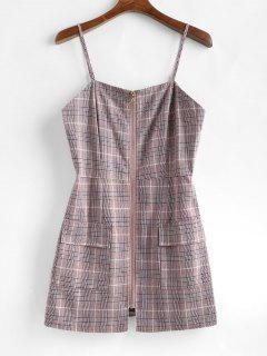 Plaid Zipper Mini Pinafore Dress - Lipstick Pink S