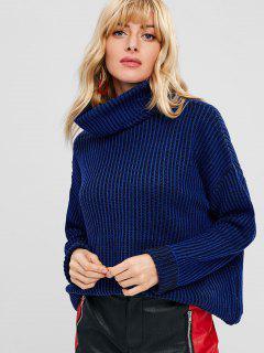 Turtleneck Drop Shoulder Striped Sweater - Cobalt Blue L
