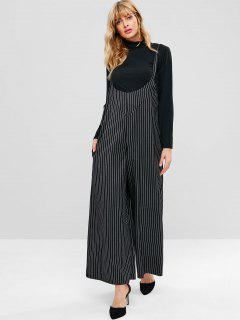 Stripes Wide Leg Overalls - Black M