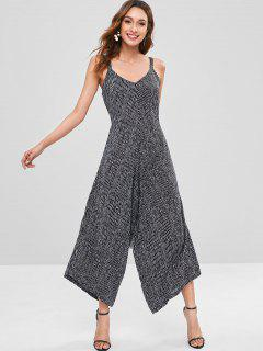 Knotted Stripes Wide Leg Jumpsuit - Black L