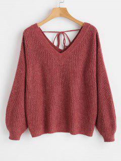 V Neck Drop Shoulder Oversized Sweater - Red Wine L