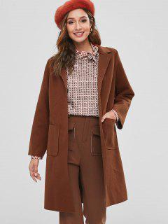 Raw Cut Belted Faux Wool Coat - Chestnut S