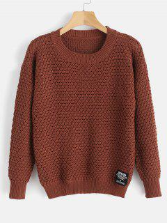 Drop Shoulder Sweater With Applique - Chestnut