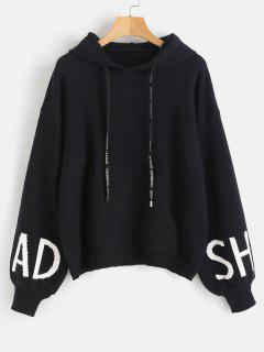 Graphic Front Pocket Hooded Sweater - Black