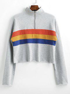 Striped Half Zipper Drop Shoulder Sweatshirt - Light Gray S