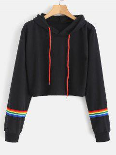 Pullover Striped Short Hoodie - Black S