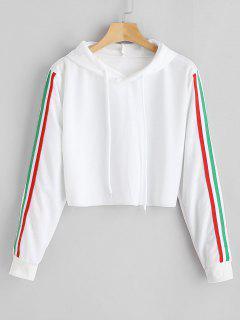 Short Striped Hoodie - White S