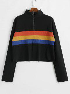 Striped Half Zipper Drop Shoulder Sweatshirt - Black M