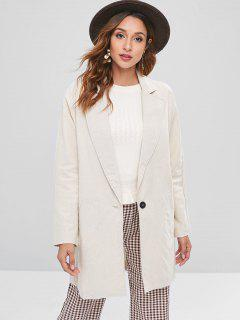 One Button Oversized Longline Blazer - Beige M