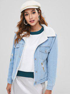 Faux Fur Lined Flower Embroidered Denim Jacket - Day Sky Blue L