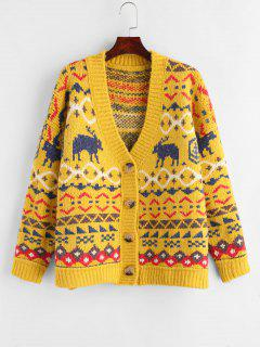 Deer Christmas Cardigan - Yellow
