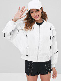 Drop Shoulder Drawstring Letter Embroidered Jacket - White L