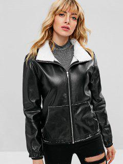 Faux Leather Fleece Lined Pocket Jacket - Black Xl