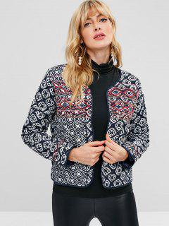 Open Front Embroidered Quilted Jacket - Multi M