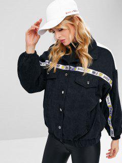 Emoji Pattern Ribbon Embellished Corduroy Jacket - Black M
