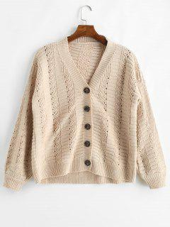 Loose Fitting Solid Color Single Breasted Cardigan - Apricot
