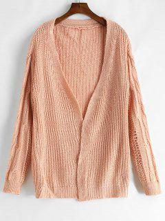 Loose Fitting Volltonfarbe Häkeln Strickjacke - Pink