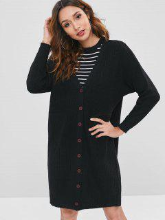 Button Front V Neck Long Cardigan - Black