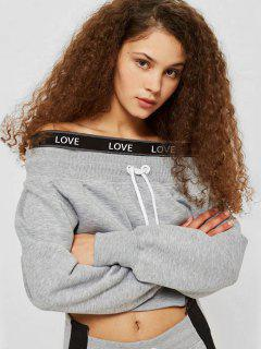 Off Shoulder Letter Crop Sweatshirt - Gray S