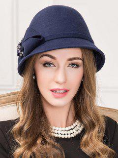 Rhinestone Bowknot Tea Party Hat - Denim Dark Blue