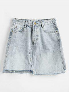Frayed Zipper Denim Skirt - Denim Blue M