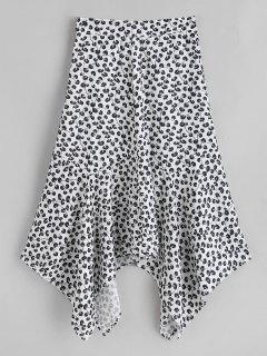Handkerchief Flowy Printed Skirt - Black M