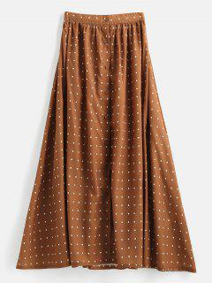Button Through Polka Dot Maxi Skirt - Brown L