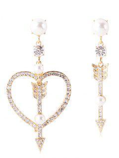 Sparkly Rhinestone Heart Arrow Asymmetric Earrings - Gold