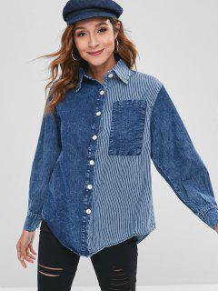 Patch Pocket Striped Splice Denim Shirt - Blue