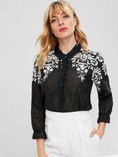 Button Down Floral Embroidered Shirt - Black L