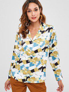 Blusa Con Solapa De Estampado Floral - Multicolor M
