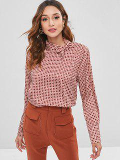 Button Back Tie Neck Graphic Blouse - Multi L