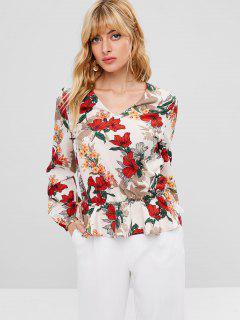 Blusa Con Cuello En V Flor Plisada - Blanco Cálido M